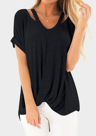Solid Ruffled Hollow Out Blouse without Necklace - Black