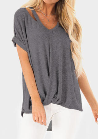 Solid Ruffled Hollow Out Blouse without Necklace - Gray