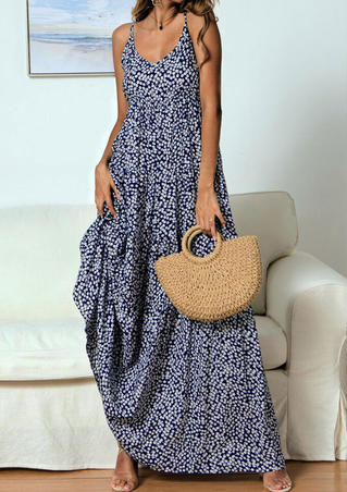 Floral Printed Spaghetti Strap Maxi Dress without Necklace - Navy Blue