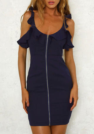 Solid Ruffled Open Back Bodycon Dress - Navy Blue