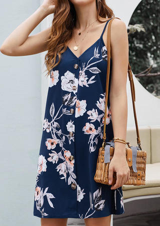 Floral Button V-Neck Mini Dress without Necklace - Navy Blue