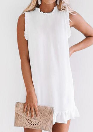 Solid Ruffled O-Neck Mini Dress - White