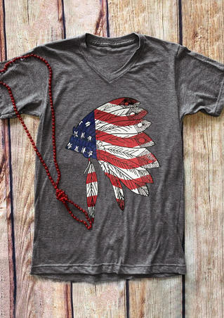 Feather American Flag V-Neck T-Shirt Tee - Gray