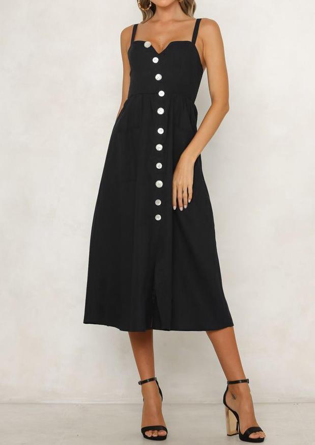 Solid Button Spaghetti Strap V-Neck Casual Dress - Black
