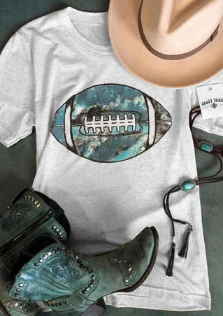 Football Printed O-Neck T-Shirt Tee - Light Grey