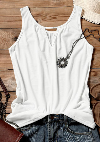Solid Hollow Out V-Neck Tank - White
