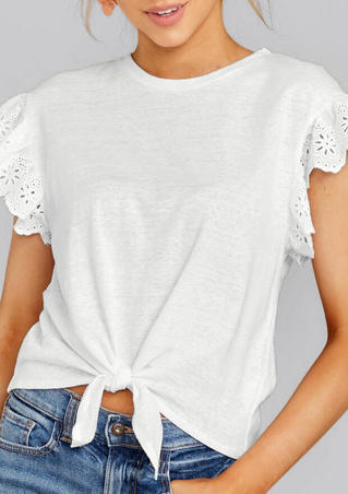 Solid Lace Splicing Tie Blouse - White