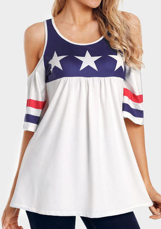 American Flag Ruffled Cold Shoulder Blouse - White