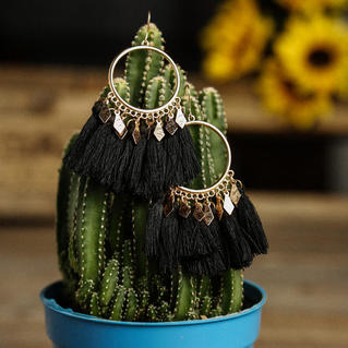 Tassel Splicing Earrings - Black