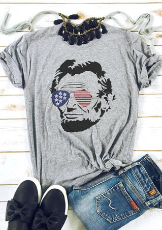 American Flag Glasses Lincoln T-Shirt Tee - Gray