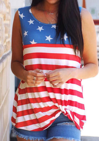 Star American Flag Tank without Necklace - Stripe