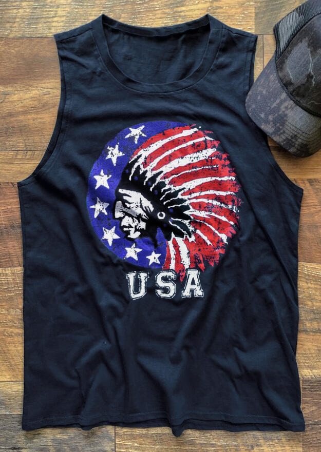 USA American Flag Indian Tank - Navy Blue