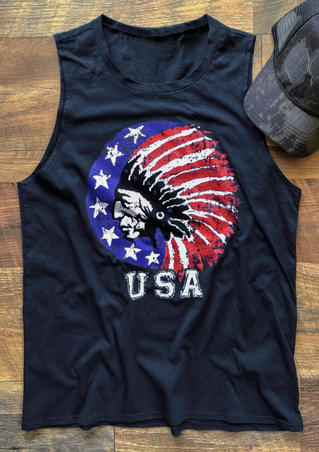 USA American Flag Indian Tank - Navy Blue
