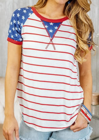 American Flag O-Neck T-Shirt Tee - Stripe