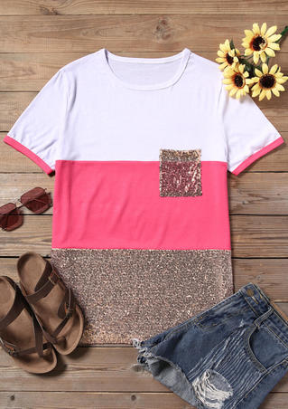 Sequined Pocket Color Block T-Shirt Tee - White