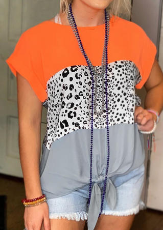 Leopard Printed Color Block Blouse without Necklace - Multicolor