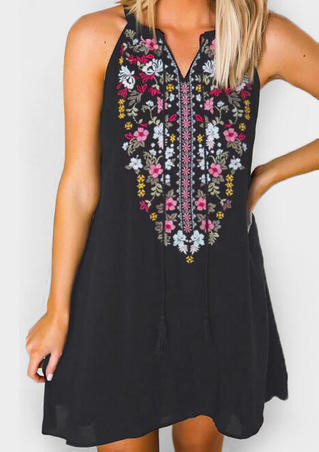 Floral Tie V-Neck Mini Dress -Black