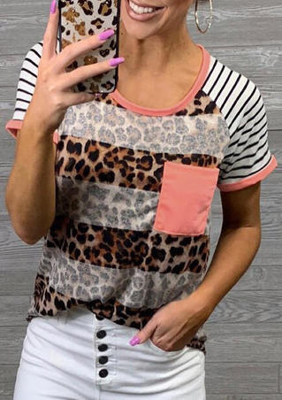 Leopard Printed Pocket Striped T-Shirt Tee - Leopard