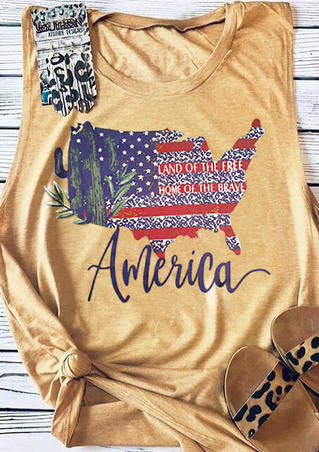 American Map Land Of The Free Tank - Yellow
