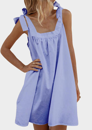 Solid Loose Sling Bow Mini Dress - Light Blue