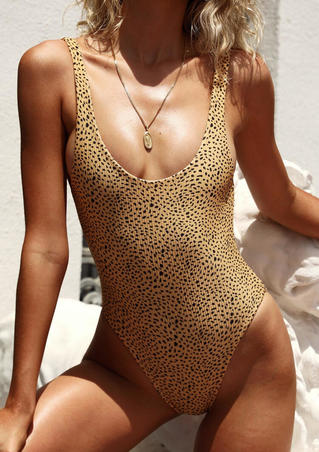 Leopard Printed Open Back Swimsuit without Necklace - Leopard