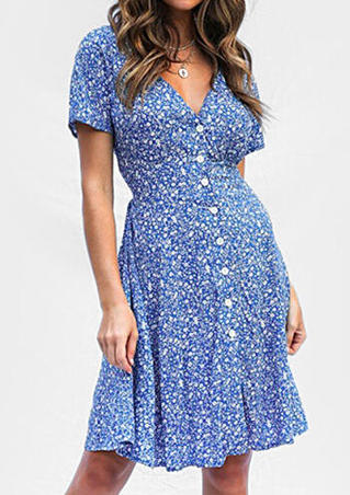 Printed Button V-Neck Mini Dress without Necklace- Blue