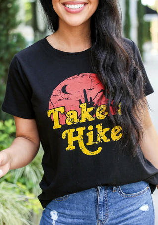 Take A Hike Moon O-Neck T-Shirt Tee - Black