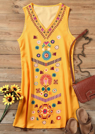Printed V-Neck Mini Dress - Yellow