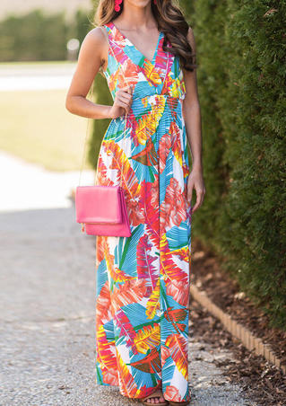Printed V-Neck Sleeveless Maxi Dress - Red