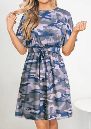 Camouflage Printed Tie O-Neck Casual Dress - Gray