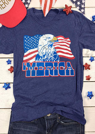 American Flag Eagle Merica T-Shirt Tee - Blue