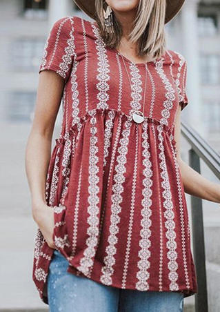Geometric Printed V-Neck Blouse without Necklace - Red