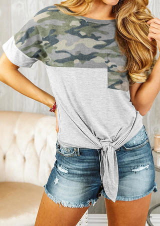 Camouflage Printed Pocket Tie T-Shirt Tee - Gray