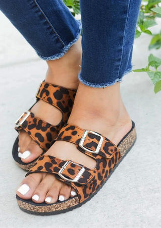 Leopard Printed Round Toe Slippers - Leopard