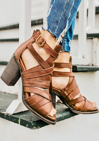 Solid Buckle Strap Heeled Sandals - Brown
