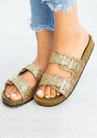 Summer Solid Round Toe Slippers - Gold