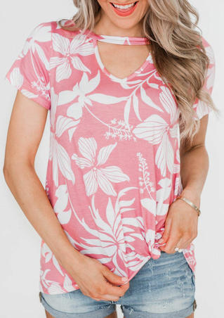 Floral Hollow Out Short Sleeve Blouse - Pink