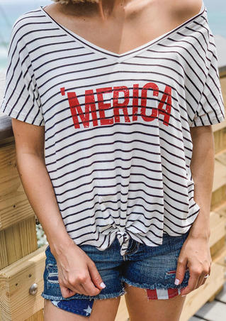'Merica Striped V-Neck T-Shirt Tee - Stripe