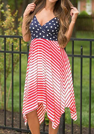 American Flag Sexy V Neck Dress - Red