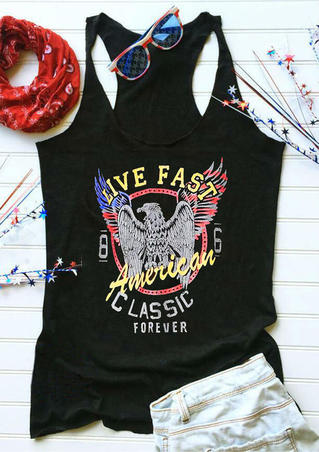 Live Fast American Classic Forever Eagle Tank - Black