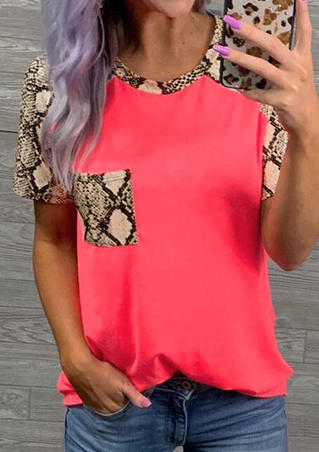Snake Skin Printed Splicing Pocket T-Shirt Tee - Fluorescent Pink