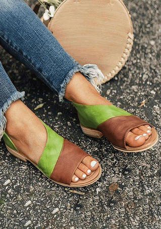 Color Block Peep Toe Flat Sandals - Light Green