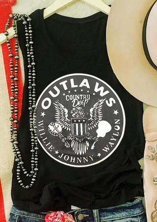 Country Deep Outlaws Willie Johnny Waylon Eagle Tank -Black