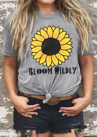 Sunflower Bloom Wildly T-Shirt Tee - Gray
