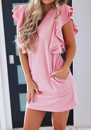 Elegant Ruffle Sleeve  MIni Dress - Pink