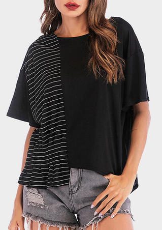Striped Ruffled Asymmetric Blouse - Black