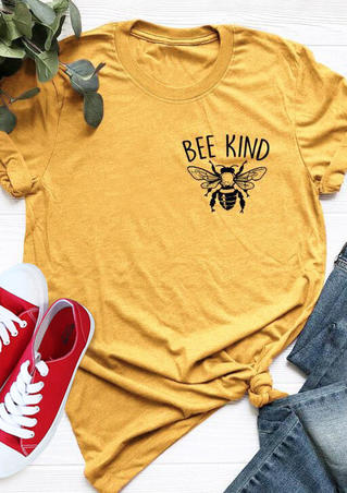 Bee Kind O-Neck T-Shirt Tee - Yellow
