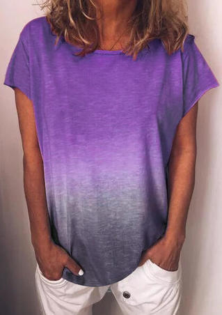 Gradient Color O-Neck Blouse - Purple