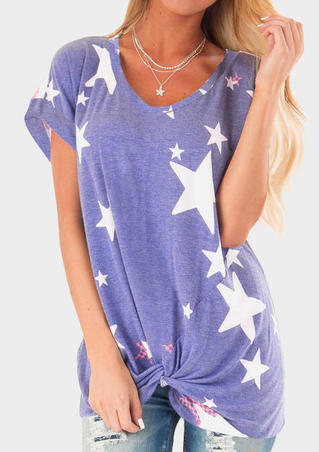 Star American Flag Twist Blouse without Necklace - Blue