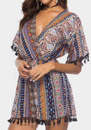 Paisley Printed Tassel V-Neck Romper without Choker - Multicolor
